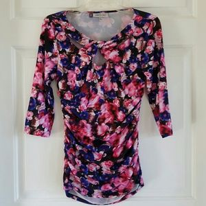 Jennifer Lopez/ ruched floral print blouse